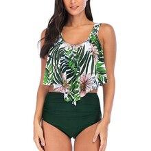 Hem Ruffle High Waist Bikini Set Hot Sexy 2019 Mujer Ruffled Swimwear Push Up Swimsuit Bandage Biquini Women Plus Size