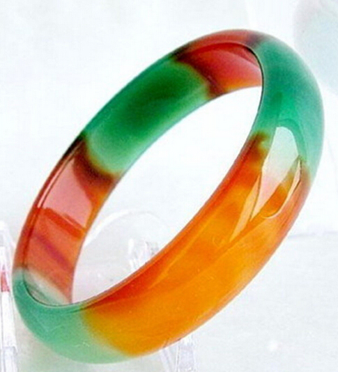 free shipping 13346 Pretty Genuine Asia Red Green Natural Agate Jade Bangle font b Bracelet b