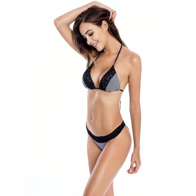 1f6334bb6905d RELLECIGA Women's Triangle Bikini Top and Cheeky Lace-band Bikini Bottom
