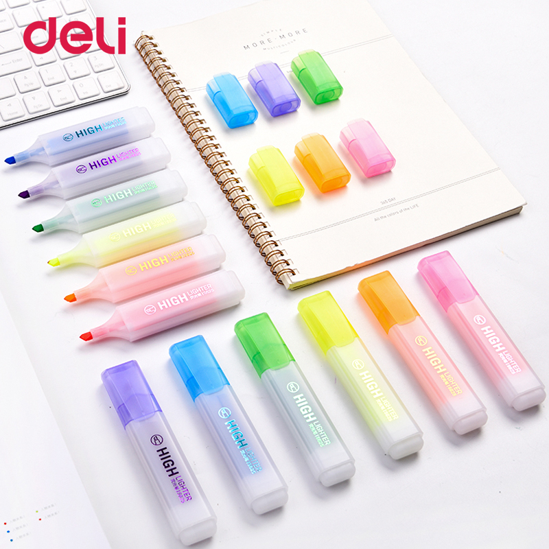 Deli classic 6pcs colored oblique highlighter marker pens with invisible ink for school kid office sign supply scribble pen sets