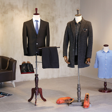 Male half body mannequin props hemp cotton cloth men's fabric mannequin with wooden arms and shoes pants rack