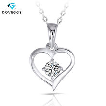 DovEggs Elegant Necklace Sterling 0.3ct 4mm GH Color Moissanite Classic Heart Shaped Sterling Solid 925 Silver Pendant for Women classic heart pendant