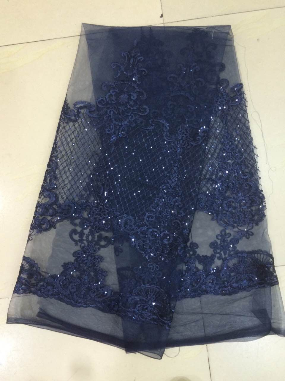 navy blue David 1029 Embroidered Nigerian Lace Fabric French Tulle Lace Fabric with sequins