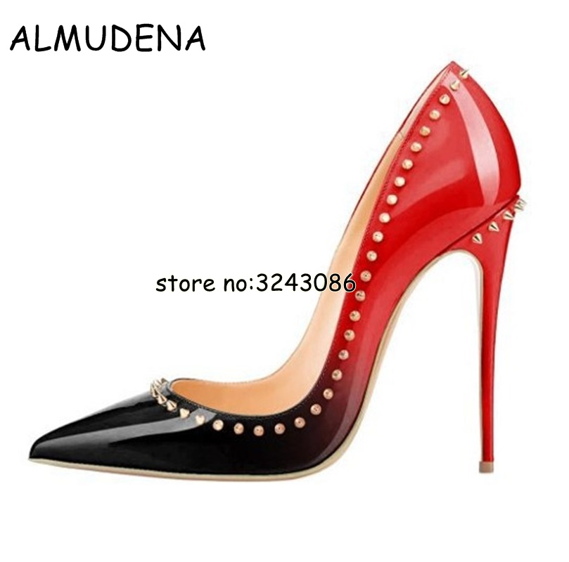 844f4adaafbbb DorisFanny Patent leather studded heels 12cm fashion ladies sexy pointed  toe rivets spiked high heeled shoes black womens pumps