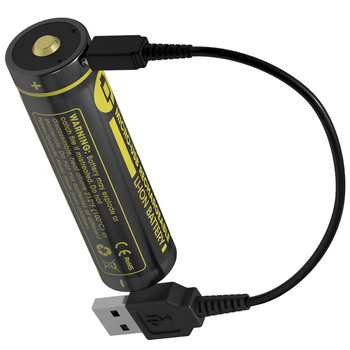 TOPSALE NITECORE High Performance Rechargeable Li-ion Battery Button Top 18650 Protected Battery with MicroUSB port Charge Cable