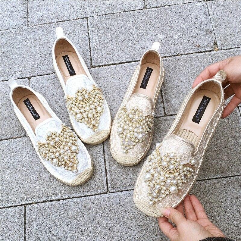 Dentelle Clair Paille Étudiants Linge Plat Beige Strass coréen Chaussures Pêcheur Nouvelle Satin jaune Respirant Sauvage Féminin xHqwZvn