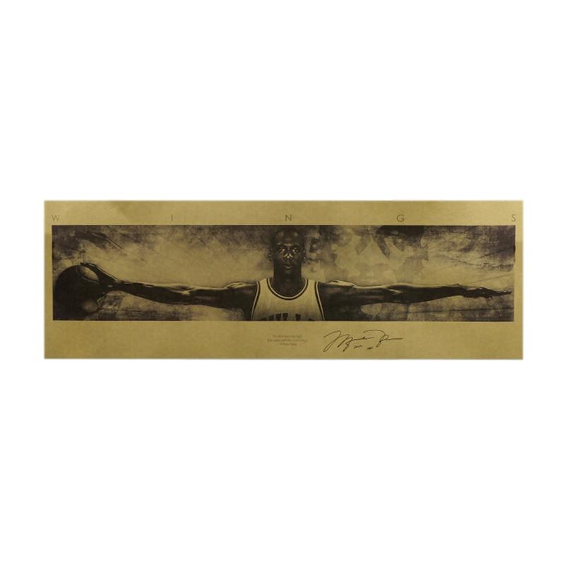 Майкл Джордан, NBA крылья Ретро плакат на крафт-бумаге 72,5x24 см