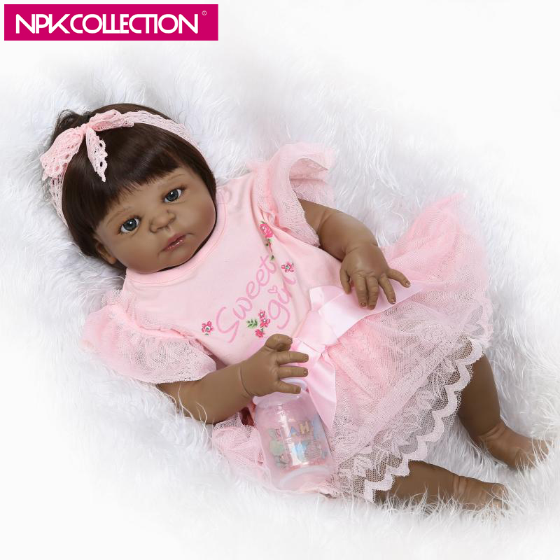 NPK 23 Inch Full Vinyl Silicone Chocolate Skin Reborn Doll Handmade Newborn Baby Dolls Americans Indian Girl Toys Birthday Gift