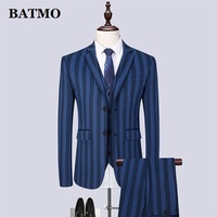 Batmo 2019 new arrival spring high quality striped casual blue suits men ,wedding dress,plus size S 6XL 1898