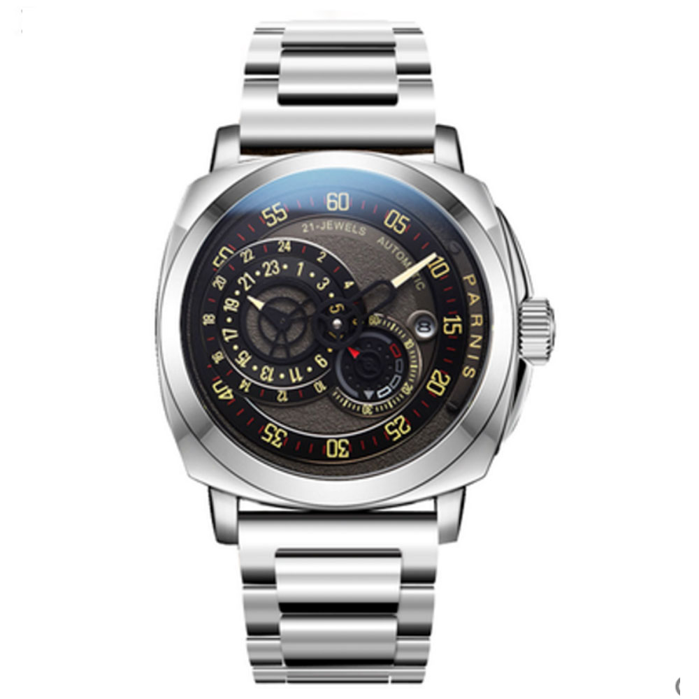 44mm PARNIS Black Dial Sapphire Glass full Stainless steel Date Top Brand Luxury 21 Jewels Miyota