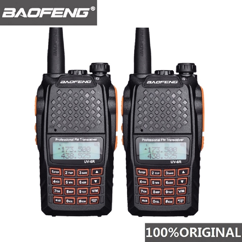 2pcs Baofeng UV 6R Two Way Radio Scanner 7w VHF UHF Dual Band Portable Walkie Talkie