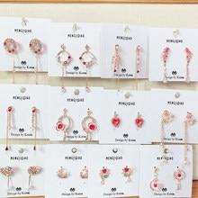 MENGJIQIAO 2019 nowy elegancki różowy Shiny cyrkon kwiat koło długie kolczyki wiszące dla kobiet delikatne Micro betonowa Pendientes biżuteria