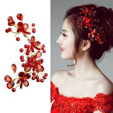 Wedding Hair Accessories Red Crystal Beads Hairband Wedding