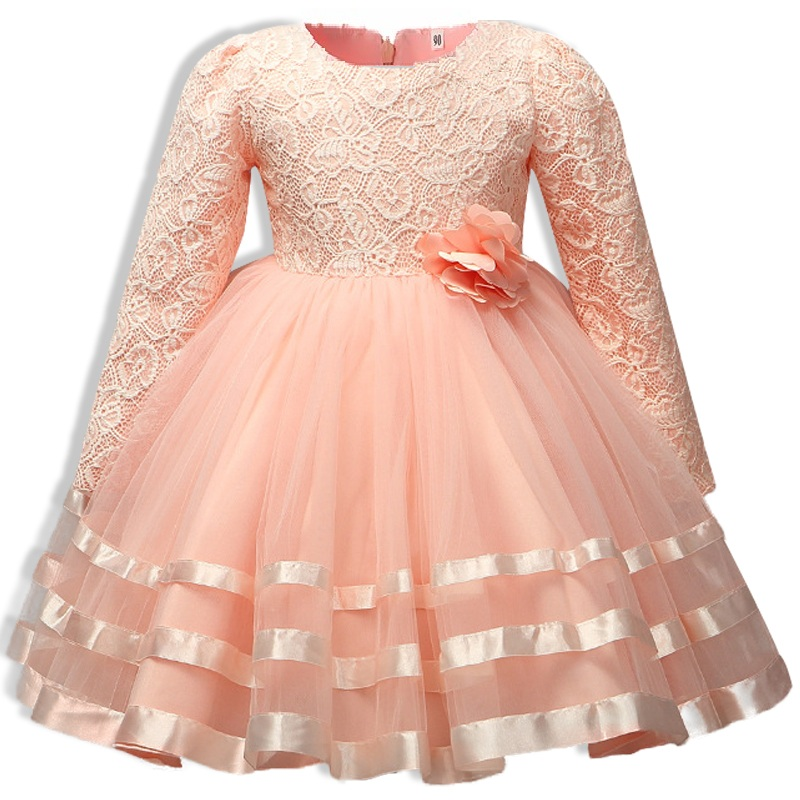 autumn Long sleeve 3-12 Years 2017 High quality  butterfly Bud silk Girls Dresses Princess  Girl Kids Birthday Clothes high quality girls baby bright leaf long sleeve lace dress princess bud silk dresses children s clothing wholesale
