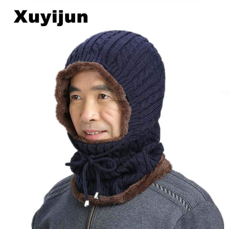 XUYIJUN Balaclava Wholesal knit scarf cap neck warm winter Caps for Men Women Skullies hats knitte warm fleece knit dad Cap knit winter hats for men women bonnet beanies skullies caps winter hat cap balaclava beanie bird embroidery gorros