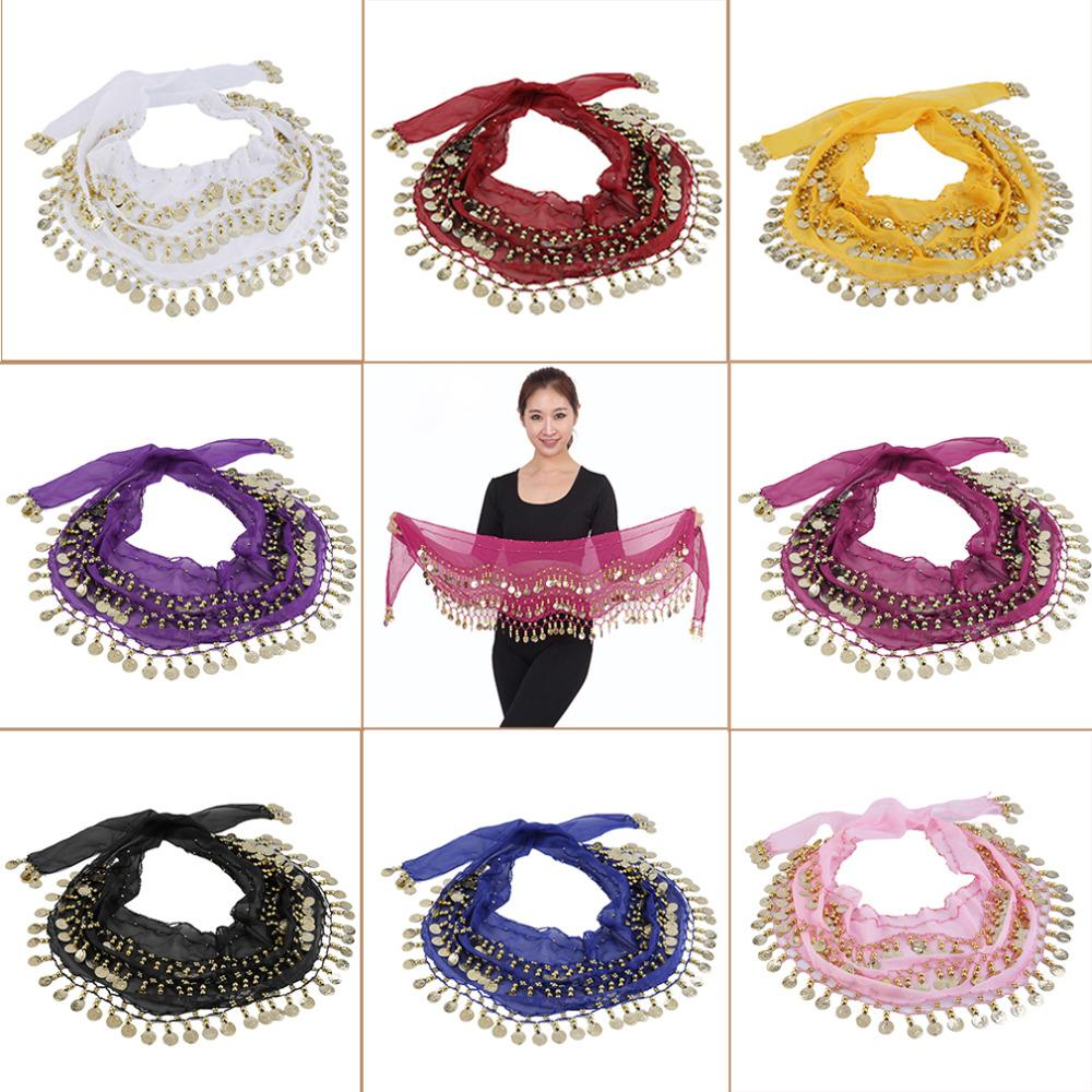 3 Rows 128 Gold Coins Belly Dance Costume Hip Scarf Skirt Belt Wrap Waist Chain Colorful Chiffon 150x20cm Scarfs Skirt Hip