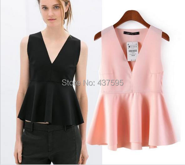 Hot sale New Women Ladies' Sexy Deep V Neck Peplum Ruffle Office Work Vest Shirt Female Summer Sleeveless Casual ZA Brand Tops