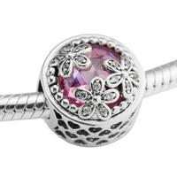 Dazzling Daisy Meadow Pink CZ Beads Original 925 Silver Fit European Bracelet For Woman Pandulaso Fashion