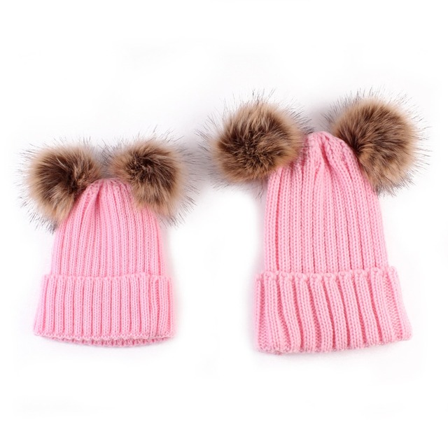 68f7a66f7173b Mother Daughter Matching Beanies Warm Hat