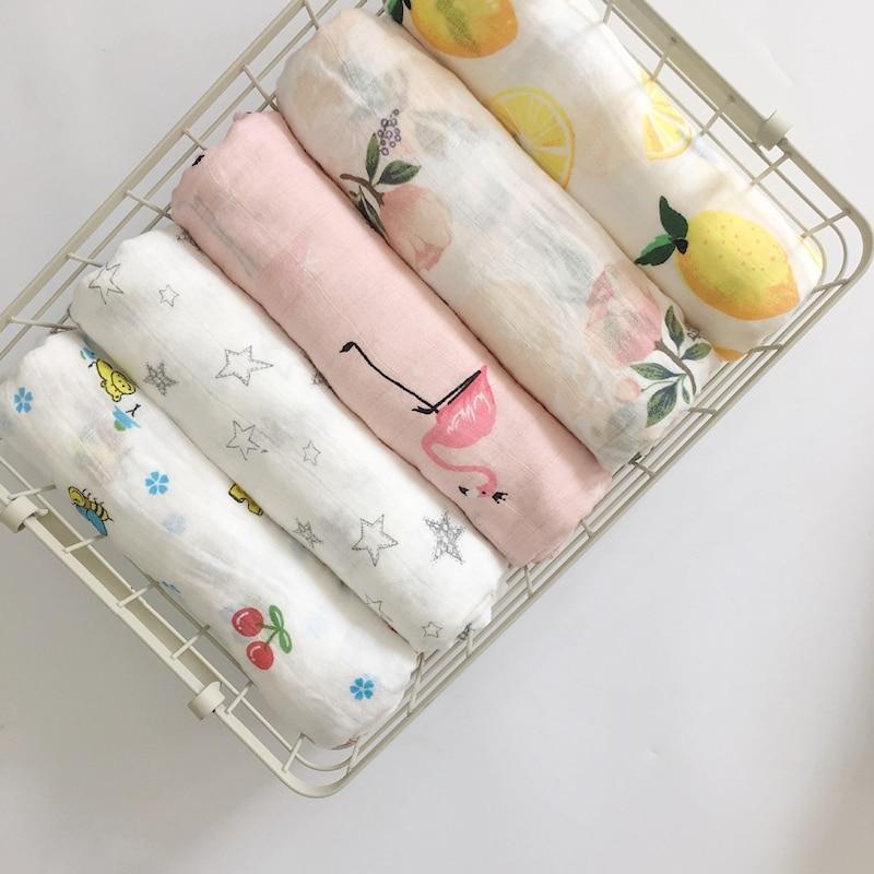 MYUDI - 120*120cm Baby Swaddle Two Layers Muslin Cotton Gauze Infant Blanket Flamingo Animal Children Bath Towel newborn Envelop