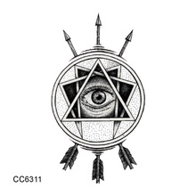 CC6311 6X6cm Little Vintage Old School Style Triangle Eyes Arrow Temporary Tattoo Sticker Body Art Water Transfer Fake Taty
