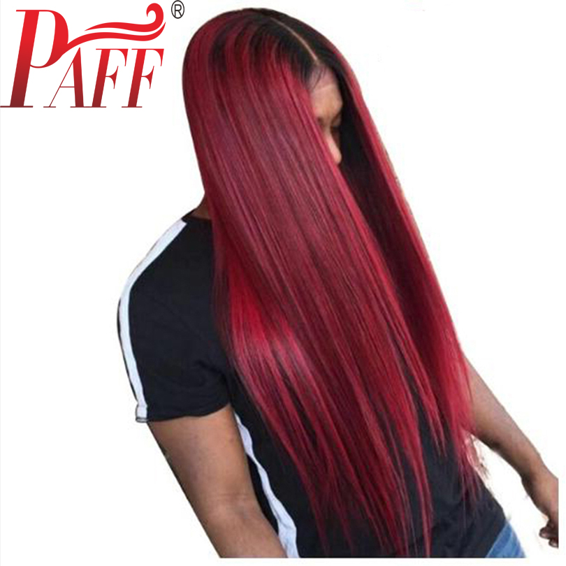 PAFF Wine red glueless lace human hair front wig straight virgin hair Brazilian two tone 1B