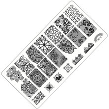 Hot 2017 Newest Design Nail Art Plate Stamp Stamping DIY Nail Polish Print Lace Flower Feather
