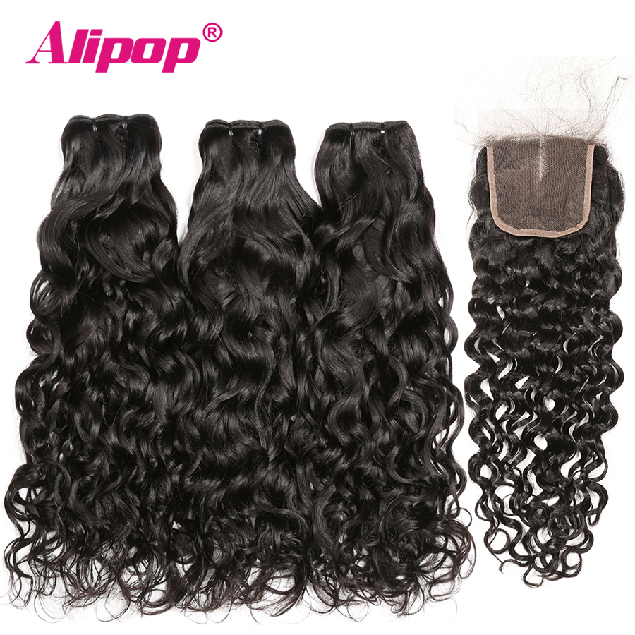 Peruvian Water Wave Hair Bundles With Closure 3 Bundles Human Hair Bundles With Closure Alipop 4x4