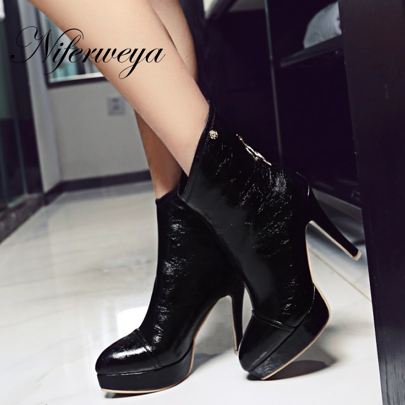 Big size 32-46 fashion winter women shoes sexy Pointed Toe Platform high heels solid PU ladies zipper short boots Ankle boots 2016 fashion winter women shoes sexy pointed toe platform thin heel high heels big size 32 46 solid pu lace up ankle boots