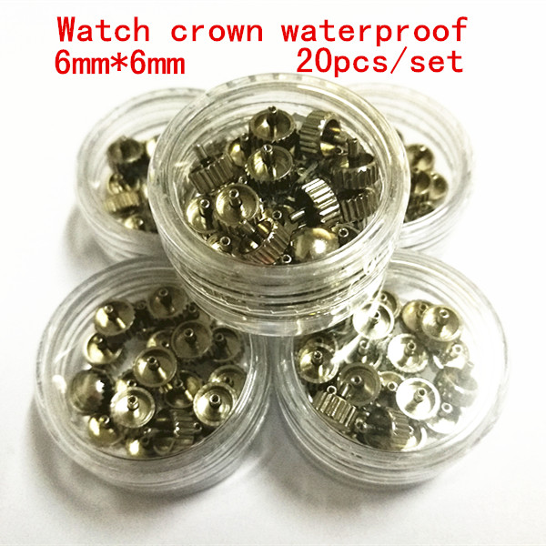 Wholesale 20PCS/set high quality watch parts watch head watch crown waterproof stainless steel watch crown 6mm*6mm free shipping 1pc large tube stainless steel gold waterproof watch crown and tube for watch repair
