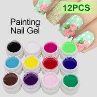 1 adet 3D Parlak Renk Jel Glitter12 Renkli Boyama UV Jel Lehçe Vernis Yarı Kalıcı Tırnak Sanat Boyalı Tırnak Tutkal