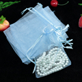 Wholesale 100pcs/lot,Drawable Light Blue Small Organza Bags 9x12 cm, Favor Wedding Gift Packing Bags,Packaging Jewelry Pouches
