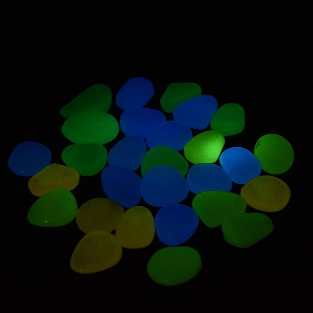 100Pcs/ Bag Glow In The Dark Luminous Artificial Pebble Stone Fish Tank Aquarium Stone Decoration
