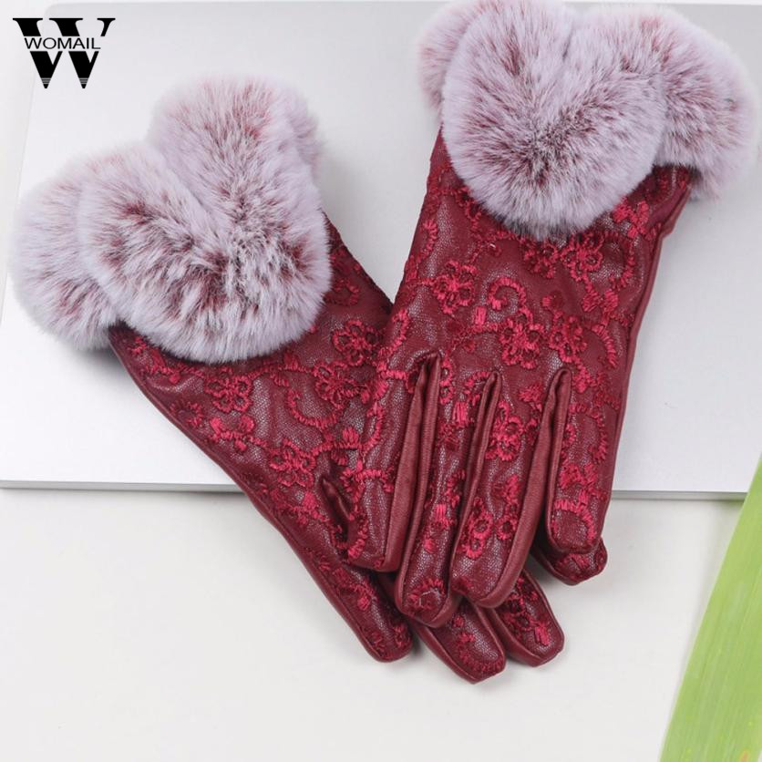 Fashion Women Lady Winter Warm PU Leather Gloves Full Finger Faux Fur Glove New