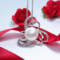 Veamor Fashion Genuine Natural Freshwater Pearl Earrings 925 Sterling Silver Jewelry  Pink Necklace For Women