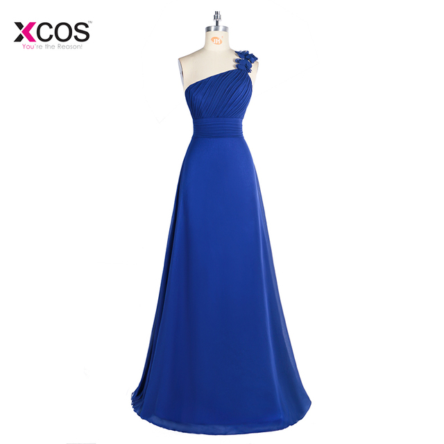Chiffon Flowers One Shoulder Long Bridesmaid Dresses Royal Blue Floor Length Pleat Wedding Guest Dress Formal Party Banquet Gown