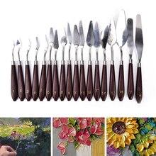 1 шт., профессиональная палитра из нержавеющей стали для нанесения краски, нож, масляный шпатель для краски, 18 размеров, палитра, инструмент для смешивания, скребок, художественный инструмент
