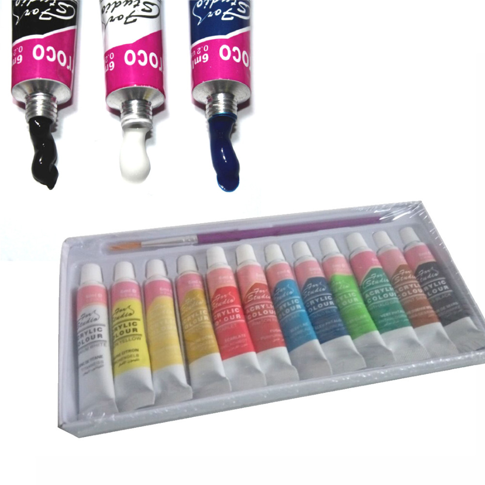 WJU0080 12 Colors Professional Acrylic Paints Set Hand Painted Wall Painting Textile Paint Brightly Colored Art Supplies Peintur