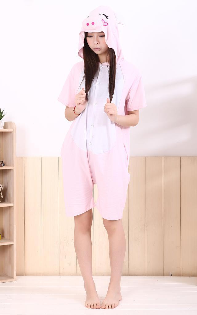 Wholesale Free Shipping Summer Animal Pink Pig Adult Ladies Women Onesie Shorts Hooded Sleepwear Cos Party S-XL