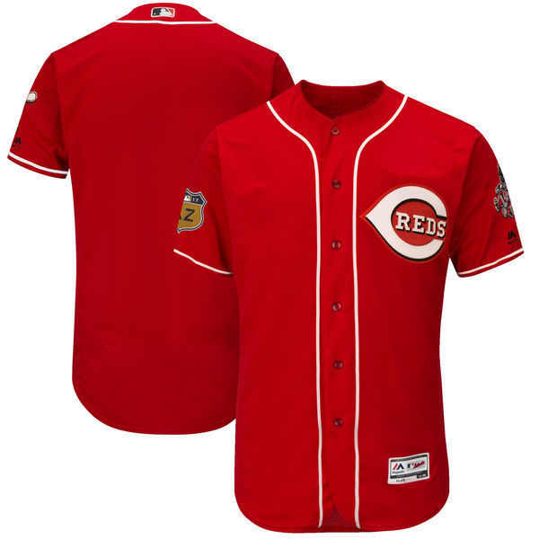 MLB Mens Cincinnati Reds Baseball Scarlet 2017 Spring Training Authentic Flex Base Team Jersey