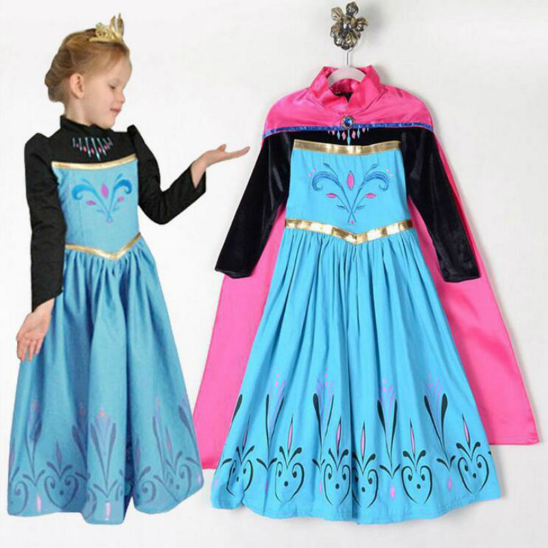 Snow Queen Princess Dresses Anna Elsa Dress For Girls Party Birthday Clothes Cosplay Vestidos Kids Clothing Elsa Crown Set