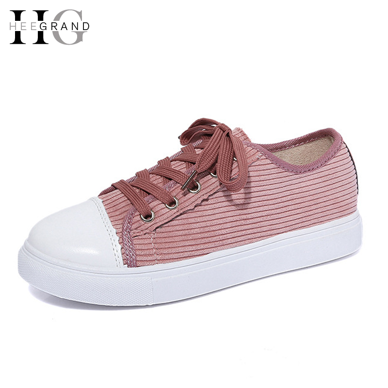 HEE GRAND Casual Canvas Shoes Woman 2017 Spring Creepers Platform Loafers Lace-Up Flats Comfort Women Flat Shoes XWD5164 hee grand flowers creepers pearl glitter flats shoes woman pink loafers comfort slip on casual women shoes size 35 43 xwc1112
