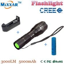 RUzk10 3000 lumens LED flashlight CREE XM-L t6 flashlight Zoomable lamp + 1 * 18650 5000mAh rechargeable battery + EU/US Charger