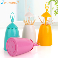 Joyathome Creative Automatic Cover Ballet Dancer Toothpick Holder Cotton Swab Home Decor Table Decoration Accessories