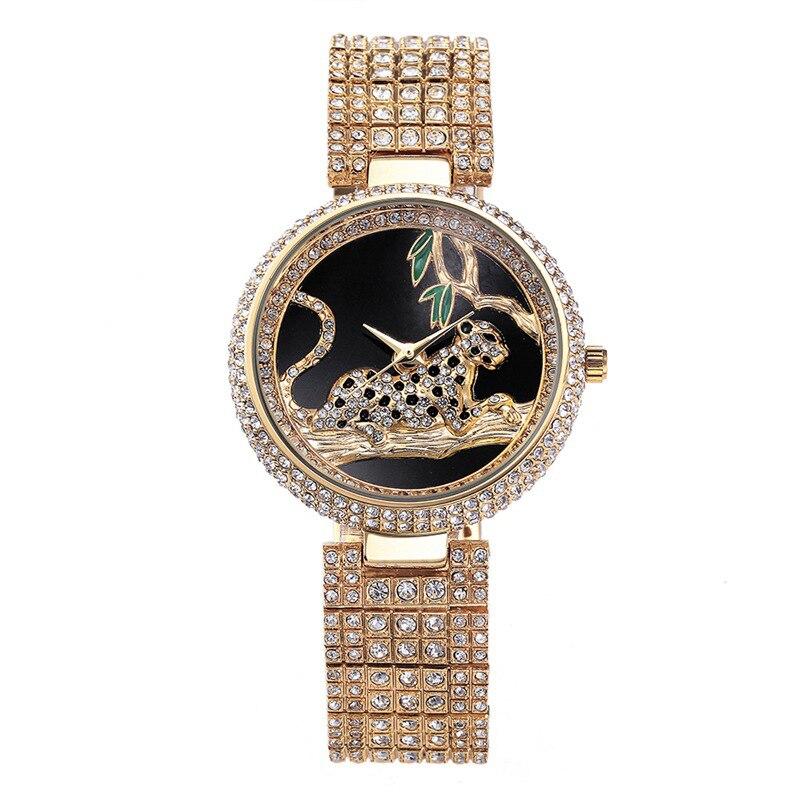 Women's Brand Bling Watch Fashion Luxury Style Quartz-Watch Ladies Rhinestone Gold Wrist Watches Crystal Cheetah Clock LZ2221 стоимость