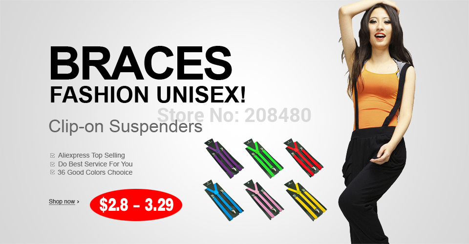 Women Men's Unisex Clip-on Braces Elastic Slim Suspenders 1Inch/2.5cm Wide Y-Black Suspenders Wholesale & Retail Multi Color