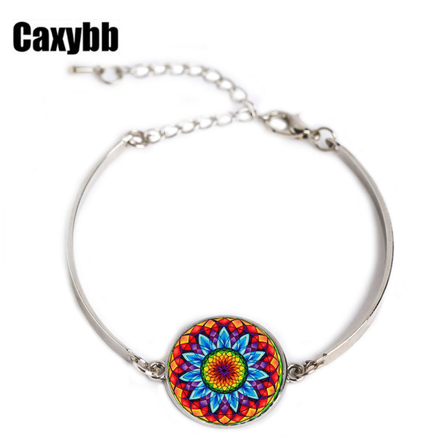 Us 1 11 26 Off Aliexpress Free Delivery Hot Pin Indian Style Yoga Jewelry Bracelet Om Symbol Buddhism Zen Unique Colorful Mandala Flower