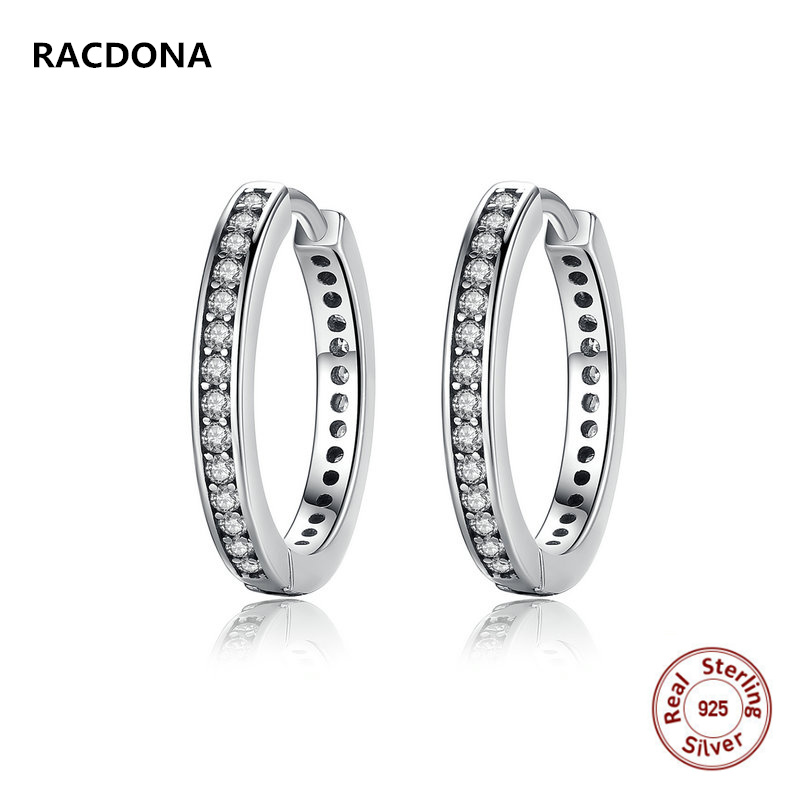Retro 100% 925 Sterling Silver Party Eternity Hoop Earrings With Clear CZ Earring For Women Compatible with pan jewelery
