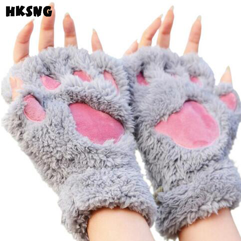 HKSNG High Quality Winter Warm Fluffy Cat Claw Glove Soft Toweling Half Covered Bear Paw Gloves Mittens Valentine's Day Gift