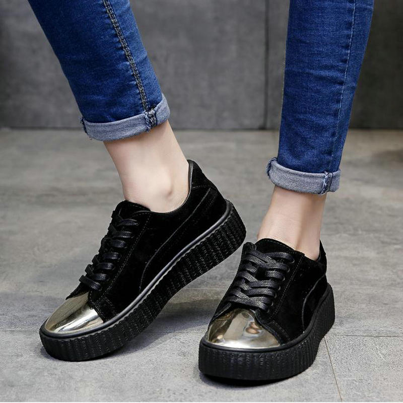 Fashion Lace up Black White Sneakers Shoes For Women Metal Head Causal Flats Shoes Hotsales Platform